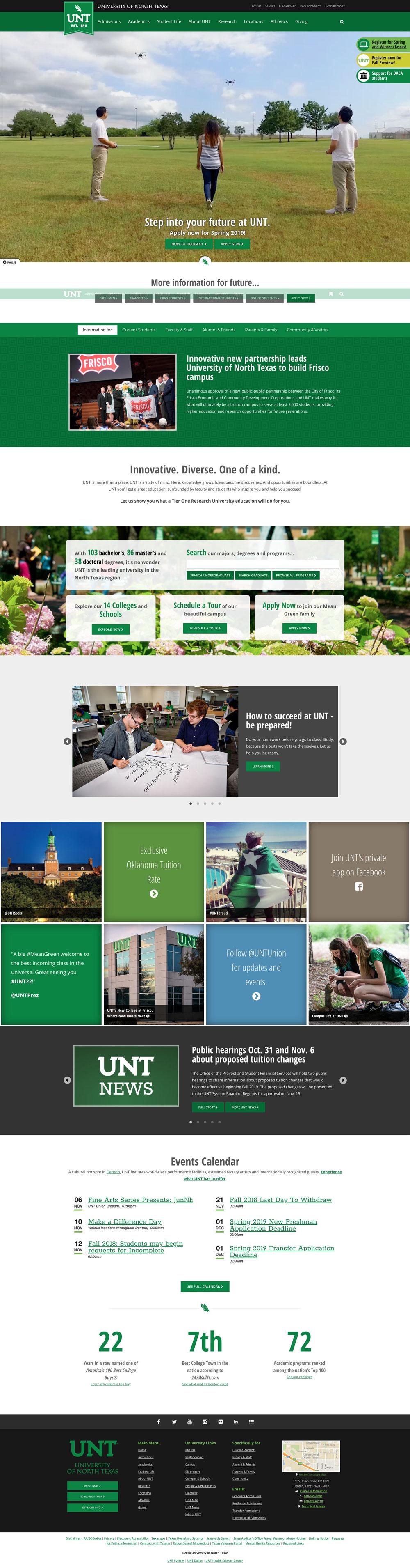 UNT Homepage