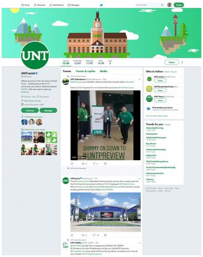 UNT social twitter page