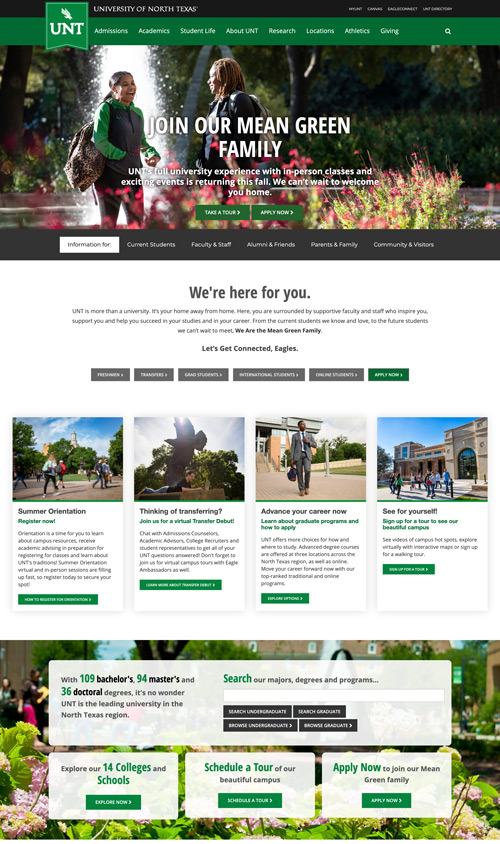 Screenshot of the UNT.edu homepage